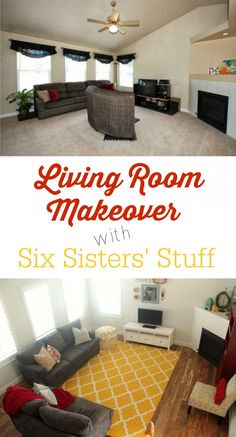 Living Room Makeover with SixSistersStuff.com.  Come see how we transformed our outdated living room! #sixsistersstuff #decor #diy