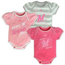 Milwaukee Brewers Newborn Triple Play Pink 3 Piece Set by Majestic Athletic