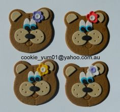 12 edible TEDDY BEAR FACES picnic cupcake cake topper decorations baby shower wedding birthday engagement anniversary cute jungle by cookiecookieyumyum on Etsy