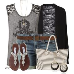 Jean Shorts & a Striped Bag
