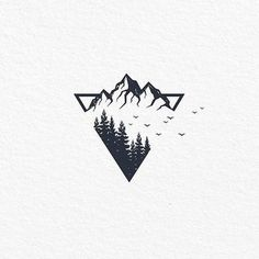 simple tattoos with meaning ; simple tattoos for women ; simple tattoos for women with meaning ; simple tattoos for women unique Tattoo Sketches, Tattoo Drawings, Art Sketches, Montain Tattoo, Berg Tattoo, Natur Tattoos, Tattoos Geometric, Geometric Tattoo Nature, Geometric Mountain Tattoo