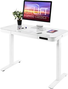 """Amazon.com: Seville Classics Airlift Ergonomic Tempered Glass Electric Sit-Stand USB Charging Height Adjustable Computer Workstation Easy Assembly Home & Office, 47"""" Pull Out Drawer Desk, White: Home & Kitchen Pull Out Drawers, Desk With Drawers, Adjustable Computer Desk, Electric Standing Desk, Glass Top Desk, Tempered Glass Table Top, Computer Workstation, Stand Up Desk, Modern Glass"""