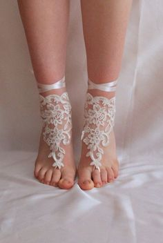 SHOES OR GLOVES Bridal ivory barefoot sandals by semajewelry