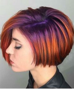 Violet rooted into fiery orange hair color. Purple and orange hair. by Violet rooted into fiery orange hair color. Purple and orange hair. Short Hair With Layers, Layered Hair, Short Hair Cuts, Short Hair Styles, Short Hair With Color, Short Hair Colors, Red Hair Color, Purple Hair, Red Color
