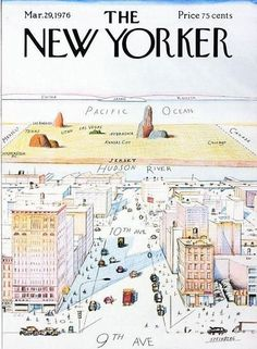 "The New Yorker 1976年3月  这个封面被无数次的复制和模仿,每个城市都想要一个自己的版本,Steinberg说:""如果我拿到该拿的版税,这张画就可以退休了。""  一张用彩色蜡笔画的纽约城,画的视角是从第九大道的空中往西看,你可以看到哈得逊河(the Hudson River)、新泽西州(New Jersey)、堪萨斯(Kansas City),然后是太平洋和日本。封面作者是Saul Steinberg,名字叫作""View of the World from Ninth Avenue""(从第九大道看到的世界)。"