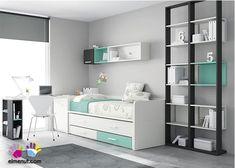 Bonita combinación de colores en esta habitación Infantil 303-212014 - blanco, 2 tonos de gris y un azul/verde turquesa muy suave