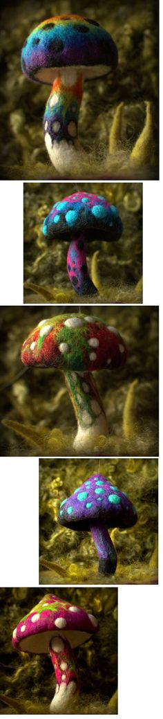Needle Felting Magical Mushrooms OH man. Now I'm going to have to learn how to needle felt for sure!! #needlefelted