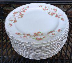 Twelve Dessert Plates Dainty Pink Roses Pope by Castellocasa, $45.00
