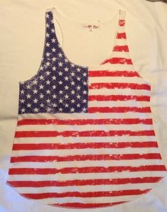 7df4c2aadf Lucky Ace Women's Red White Blue Flag Sleeveless Tank Top Size LARGE | eBay