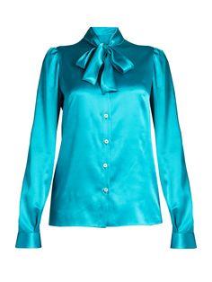 Tie-neck long-sleeved satin blouse | Dolce & Gabbana | MATCHESFASHION.COM