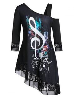 Plus Size Musical Note Asymmetric Lace Panel Skew Collar Tee - business professional outfits offices Cowgirl Outfits For Women Dresses, Derby Outfits, Casual Dresses For Women, Clothes For Women, Woman Dresses, Business Casual Outfits For Women, Office Outfits Women, Teen Fashion Outfits, Work Outfits