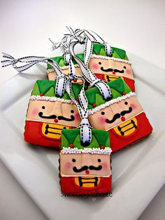 Nutcracker cookie ornaments  Make out of paper instead, use sticker mustaches! Use for cards