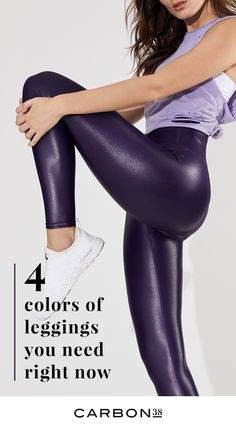 Our best-selling liquid legging is the essential look for street-friendly style. High gloss leggings with a bit of stretch won't wrinkle so you can wear them anywhere. Pair with flats or sneakers for an elevated off-duty look, or play on the leather-like Lycra Leggings, Shiny Leggings, Best Leggings, Sports Leggings, Tight Leggings, Workout Leggings, Colorful Leggings, Leather Pants Outfit, Sporty Outfits