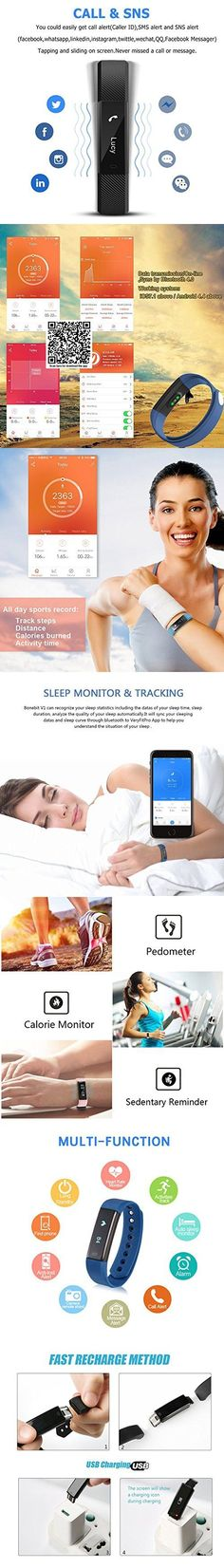 Fitness Tracker Watch With Heart Rate Monitor Bonebit Waterproof Outdoor Sportwatch with Pedometer Calories Counter and Sleep Monitor Bluetooth Wireless Smart Bracelet for Android& iOS Phone (Blue)