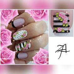 Diy Nails, Cute Nails, Pretty Nails, Spring Nail Art, Spring Nails, Vintage Nails, Office Fashion Women, Women's Fashion, Nail Polish Art