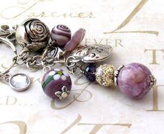 Purple and Silver Clip On Purse Charms PC1254 | DesignsForAnAngel - Accessories on ArtFire
