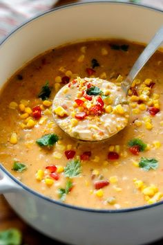 This 30 Minute LIGHTENED UP Mexican Chicken Corn Chowder is cheesy, creamy and destined to become one of your favorite soups ever!