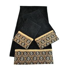 Embellished with glistening gimp braid and contrasting black and gold trim, this Sherry Kline Heartfield decorative towel set gives your bathroom an instant style update. This set includes an embellished bath towel, a hand towel, and a tip towel.