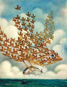 El artista estadounidense Chris Buzelli crea óleos que muestran a animales reales y mitológicos
