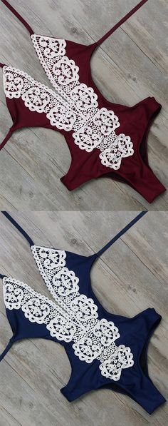 Crochet Trim Strappy One-Piece Swimwear in Russian Red and Royal Navy. Follow RUSHWORLD! We're on the hunt for everything you'll love!
