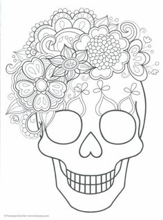 Sugar skull coloring page. Would be pretty to embroider Day Of The Dead Party, Day Of The Dead Skull, Day Of The Dead Drawing, Skull Coloring Pages, Coloring Book Pages, Fall Halloween, Halloween Crafts, Manualidades Halloween, Halloween Halloween