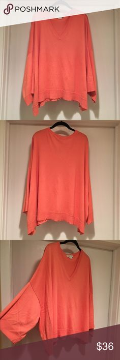 Michael Kors Oversized Sweater Shirt, Coral Michael Kors oversize sweater/shirt with kimono sleeves. *This sweater is VERY oversized.* It's meant to be very roomy and drape-y. Coral color. Size XL, but larger sizes could definitely wear this as well. Super soft and comfortable. In great condition! Michael Kors Sweaters V-Necks
