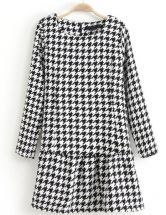 Black White Long Sleeve Houndstooth Slim Dress GBP£21.02