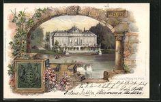 Alte Ansichtskarte: Passepartout-Lithographie Ludwigsburg, Schloss Monrepos mit Schwänen
