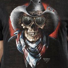 Vintage 80s 3D EMBLEM Skull Confederate Cowboy Biker Motorcycle BURNOUT thin T SHIRT