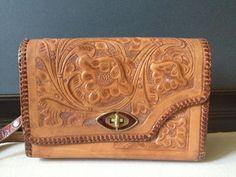 Vtg Tooled Leather Aztec Reversible Handbag by JansVintageStuff, $72.00