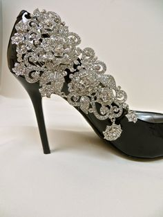Rhinestone Shoe Clips, Bridal Shoes, Shoe Accessory, Formal Shoes, Gown Accessory,Bridal Applique,  Bridal Party,  Prom