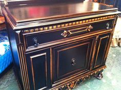 our House finish. Black, distressed buffet