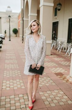 Valentines Day outfit   Romantic dress   Date night outfit   Bell sleeve dress   Maternity outfit   Uptown with Elly Brown