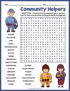 Local Community Helpers Word Search by Puzzles to Print Icebreaker Activities, Library Activities, English Activities, Learning Activities, Word Puzzles For Kids, Word Search Puzzles, Math Words, Vocabulary Words, Worksheets For Class 1