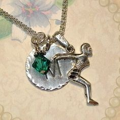 Female Diver Hand Stamped Sterling Silver Initial Necklace by DolphinMoonCreations, $34.00