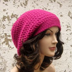 Raspberry Pink Crochet Hat  Womens Slouch by ColorMyWorldCrochet