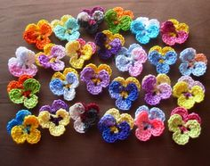 Crochet flowers pansies crochet pansy appliques tiny 25 bestseller. $20.20, via Etsy.