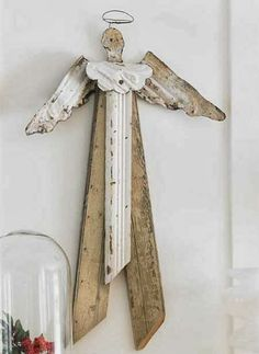 Art Of Up-Cycling: Homemade Angels For Christmas Christmas Makes, Rustic Christmas, Christmas Crafts, Christmas Decorations, Angel Crafts, Holiday Crafts, Shutter Angel, Diy Angels, Wood Crafts