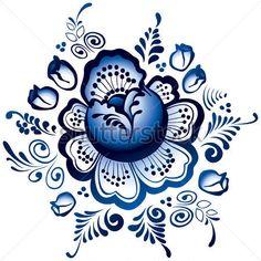 Russian Gzhel ornaments & patterns.  gzhel-flowers-traditional.jpg (450×450)