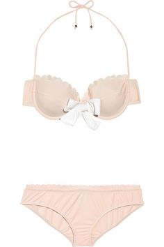 miu miu is killing it these days. adorable peachy nude bikini. <3 the bow and the scalloped trim!