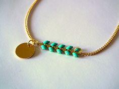 Bracelet fin en métal doré et émaillé turquoise : Bracelet par folies-de-filles