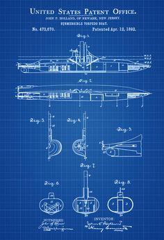 Submarine Patent Print - Vintage Submarine, Submarine Blueprint, Naval Art, Sailor Gift,  Nautical Decor, Submarine Poster, Navy by PatentsAsPrints on Etsy