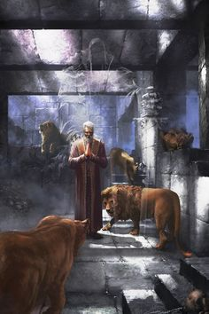 Then the king commanded, and they brought Daniel, and cast him into the den of lions. Now the king spoke and said unto Daniel, Elohecha (Thy G-d) whom thou servest continually, He will deliver thee. Christian Artwork, Christian Pictures, Jesus Bible, Jesus Art, Scripture Pictures, Jesus Pictures, Jesus Painting, Prophetic Art, Biblical Art
