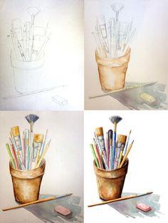 "Example of ""gradation,"" a watercolor lettering technique. Watercolor Sketchbook, Watercolor Projects, Watercolor Lettering, Watercolor Artwork, Art Sketchbook, Watercolor Illustration, Watercolor Classes, Watercolour, Paint Brush Art"
