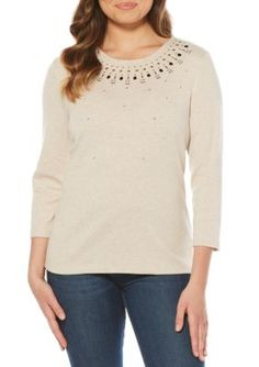 Rafaella Women's Petite Size Embellished Neckline Knit Top - Wheat Heather - Pxl