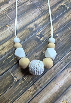 Crochet teething necklace silicone teething necklace by SJIJewelry