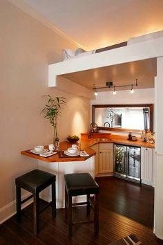 Tiny House Talk Beautiful Small Kitchen with Upstairs Sleeping Loft http://tinyhousepins.com/beautiful-small-kitchen-with-upstairs-sleeping-loft/