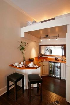 Tiny House Talk Beautiful Small Kitchen with Upstairs Sleeping Loft http://tinyhousepins.com/beautiful-small-kitchen-with-upstairs-sleeping-loft/
