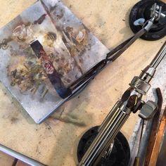 "@artnanceart ""Soldering the bezel and decorative sterling backplate onto the copper cuff. #tahoejewelryandart #artnanceart #riojeweler  #turquoisebracelet #coppercuff…"""