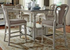 Shop For The Sarah Randolph Designs Magnolia Manor Dining Gathering Table  And Chair Set At Virginia Furniture Market   Your Rocky Mount, Roanoke,  Lynchburg, ...